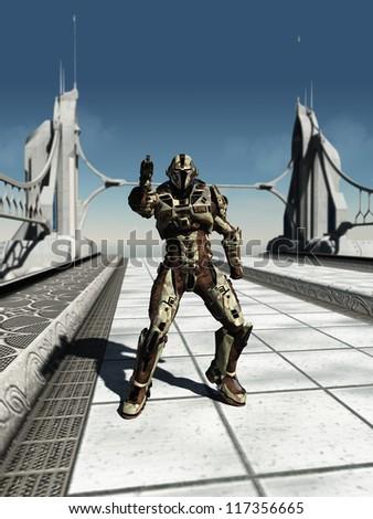 Futuristic space marine trooper guarding a bridge, 3d digitally rendered illustration - stock photo