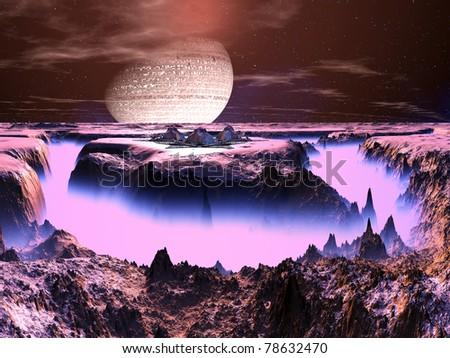 Futuristic Space Station on Alien World - stock photo