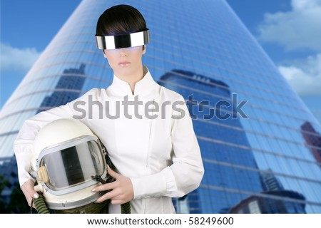 futuristic spaceship aircraft astronaut helmet woman modern skyscraper mirror city buildings [Photo Illustration] - stock photo