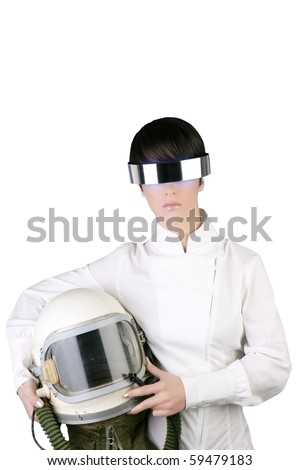 futuristic spaceship aircraft astronaut helmet woman space metaphor - stock photo
