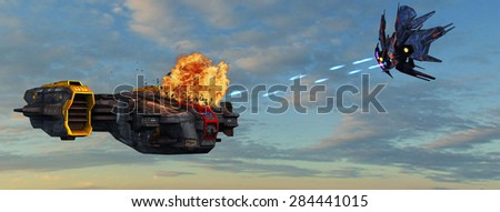 futuristic spaceship is attacked by alien battleship in the atmosphere - stock photo