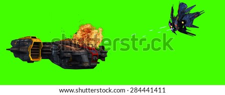 futuristic spaceship is attacked by alien battleship  - isolated on green screen - stock photo