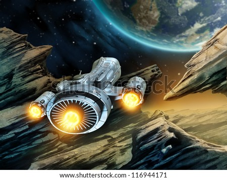 Futuristic spaceship traveling over a rocky alien planet. Digital illustration. - stock photo