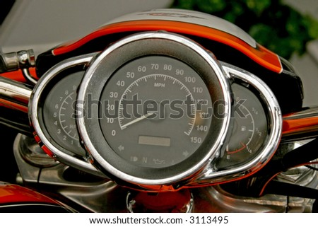 Futuristic speedometer gauge on the modern motorcycle - stock photo