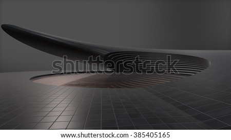Futuristic structure with circle Shiny area in the middle - stock photo