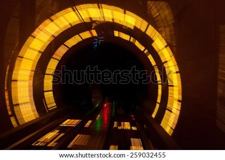 futuristic super speed traffic  blur motion in tunnel - stock photo