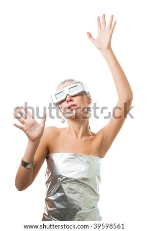 Futuristic technological woman in virtual reality glasses, isolated on white