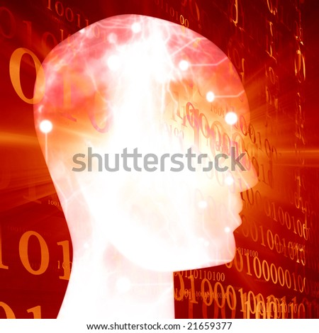Futuristic technology background on a red background - stock photo