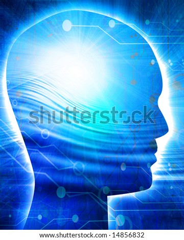 futuristic technology background with integrated human head - stock photo
