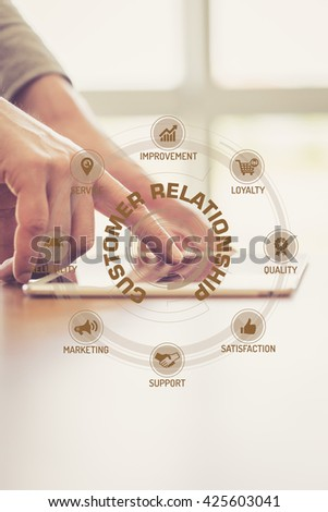 Futuristic Technology Concept: CUSTOMER RELATIONSHIP chart with icons and keywords - stock photo