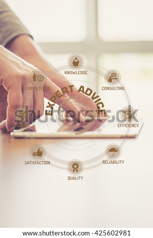 Futuristic Technology Concept: EXPERT ADVICE chart with icons and keywords - stock photo