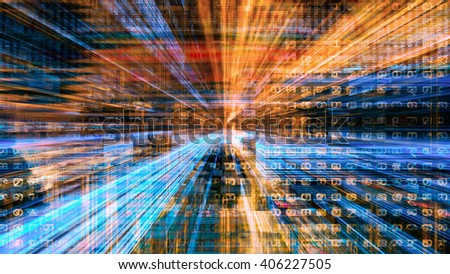 Futuristic Technology Digital Light Abstraction - stock photo