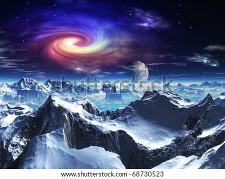 Futuristic Temple in on Alien Ice World - stock photo