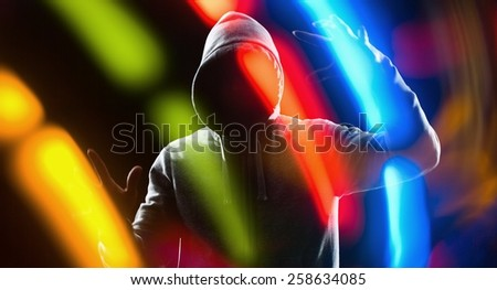 Futuristic thief hacker hacking bank password - stock photo