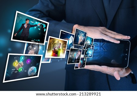 Futuristic touch screen display - stock photo