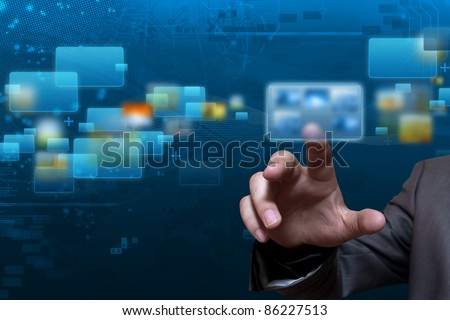 Futuristic touch screen display with streaming image - stock photo
