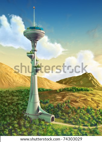Futuristic tower in a gorgeous landscape. Digital illustration. - stock photo