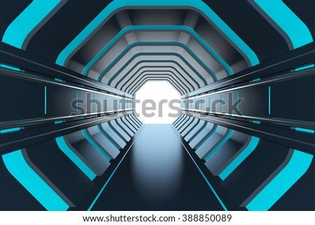 Futuristic tunnel - stock photo