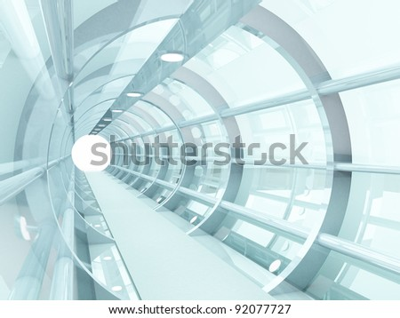 Futuristic tunnel of steel and metal, interior view. Futuristic background, business concept - stock photo