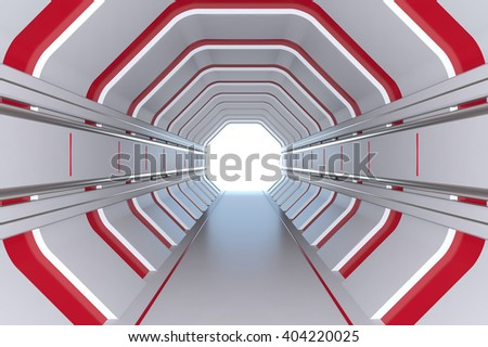 Futuristic tunnel with red lights - stock photo