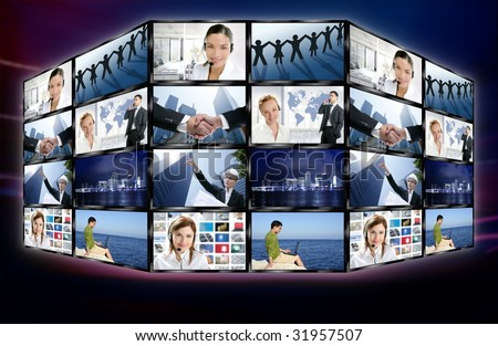 Futuristic tv video news digital screen wall with business concepts [Photo Illustration] - stock photo