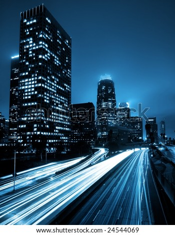 Futuristic Urban City with Freeway Traffic, Down Town Los Angeles