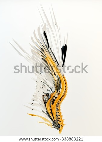 Futuristic white-orange robotic wing  - stock photo