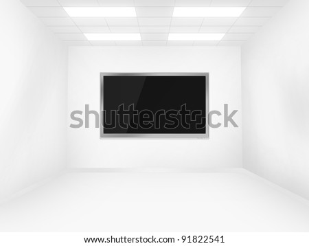 Futuristic white room with television - stock photo