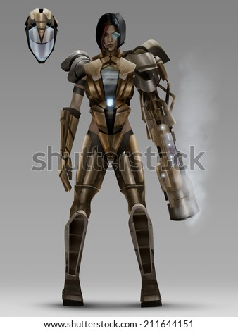 Futuristic woman tactical armor costume. Futuristic woman with tactical armor costume standing with plasma gun and tactical helmet character design. - stock photo