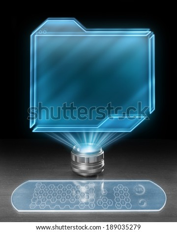 Futuristic workstation with large blank screen. - stock photo