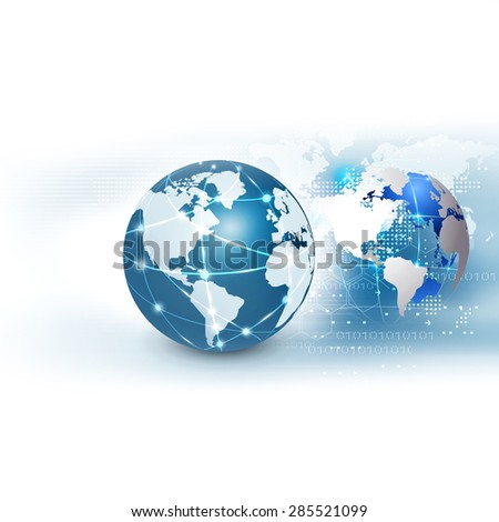 futuristic world network communication and technology concept on motion flow background