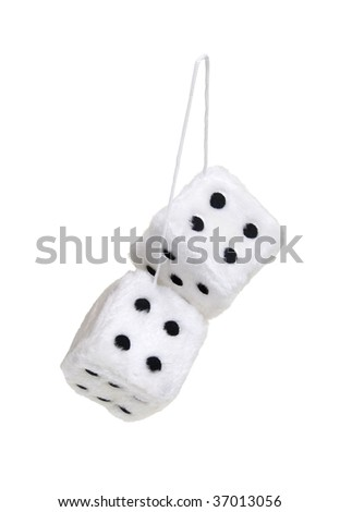 Fuzzy dice that are usually hung from the rear view mirror of a car - path included - stock photo