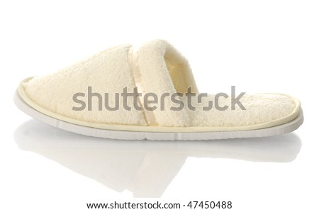 fuzzy ladies slipper with reflection on white background - stock photo