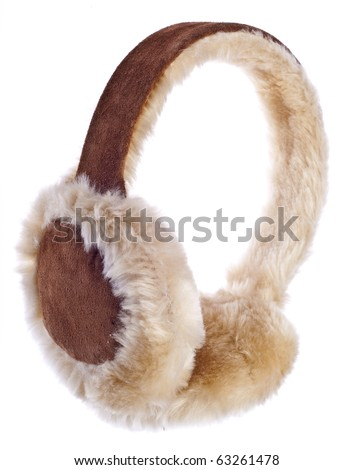 Fuzzy Winter Ear-Muffs Isolated on White with a Clipping Path. - stock photo
