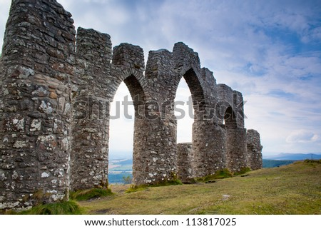 Fyrish Monument built in 1782 on Fyrish Hill (Cnoc Fyrish), near Alness, Easter Ross, Scotland - stock photo