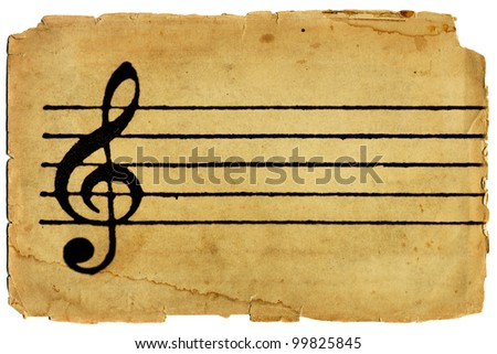 G Clef and musical staff on parchment texture paper - stock photo