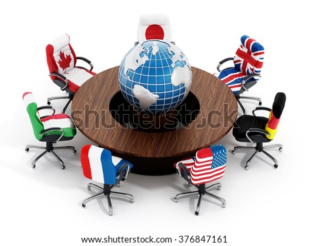 G Country Flags On Office Chairs Around Table Wth Globe Isolated On White Background