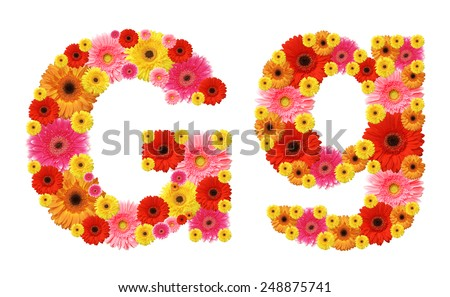 g, flower alphabet - stock photo