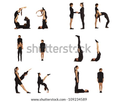 G, H, I, J, K and L abc letters formed by humans - stock photo