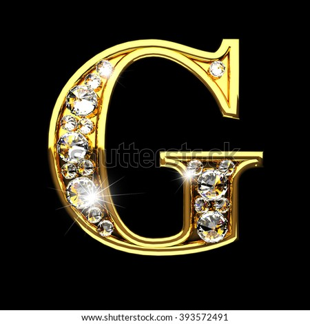 g isolated golden letters with diamonds on black