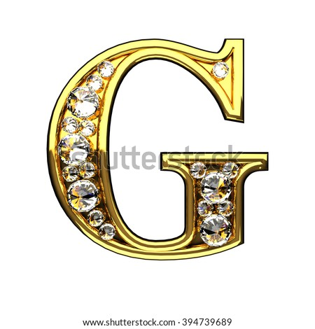 g isolated golden letters with diamonds on white