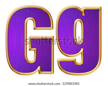 G letter of small and big from violet with gold shiny frame alphabet set, isolated on white. Computer generated 3D photo rendering.  - stock photo
