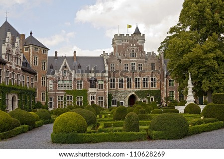Gaasbeek Castle is a well-preserved medieval fortress - stock photo
