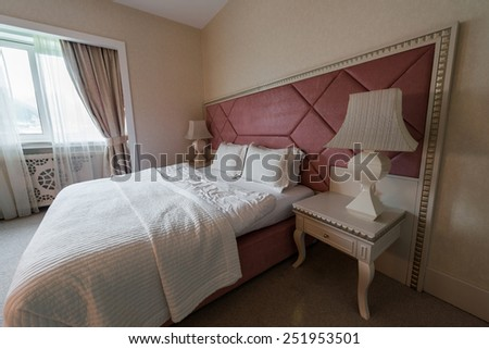 GABALA - MAY 18: Room in Riverside Hotel on May 18, 2014 in Gabala, Azerbaijan. Riverside hotel is first 5 star hotel in Gabala, Azerbaijan - stock photo