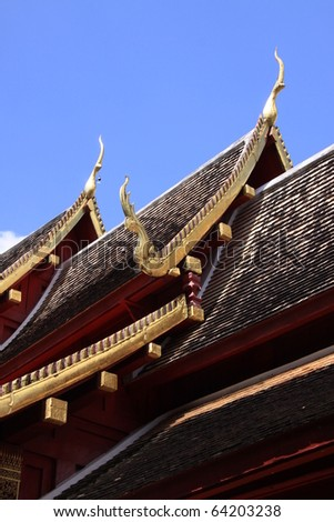 Gable apex in temple roof , Thailand
