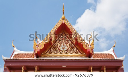 Gable roof with elaborately carved