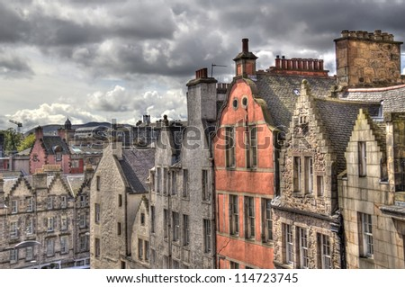 Gables and roofs of historical houses in Old Edinburgh, Scotland, UK