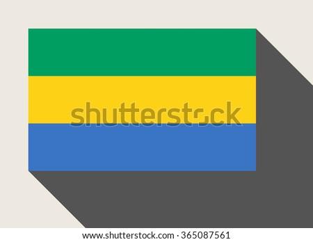 Gabon flag in flat web design style. - stock photo