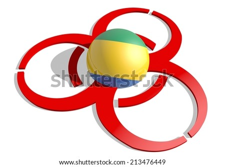 gabon flag textured sphere in the center of biohazard alert 3d red sign. suitable for ebola and others pandemic cases - stock photo