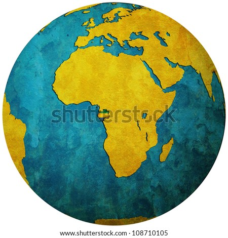 gabon territory with flag on map of globe